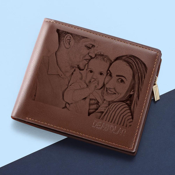 Custom Brown Trifold Leather Photo Wallet (Hot Sale)