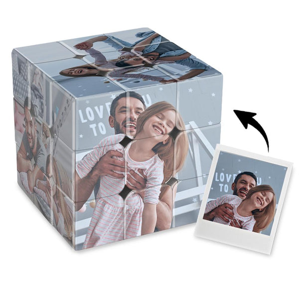 Custom Multi Photo Rubik's Cube - For Father And Baby
