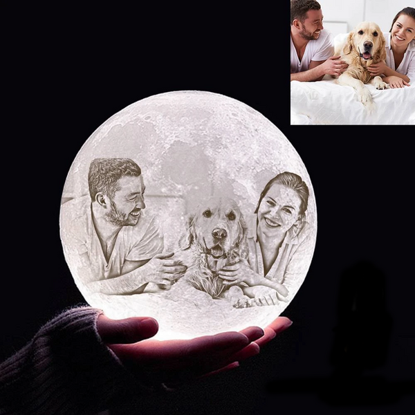 Custom 3D Printing Photo Moon Light With Your Text-For Pet Lover-Touch Two Colors(10-20cm)