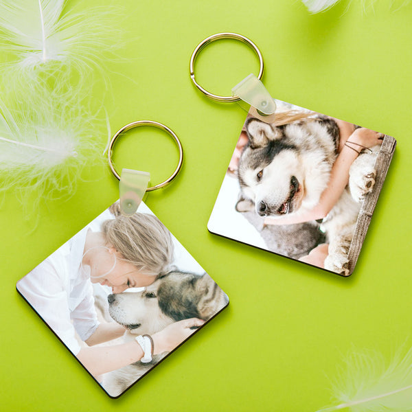 Custom Square Shape Double-sided Photo Keychain