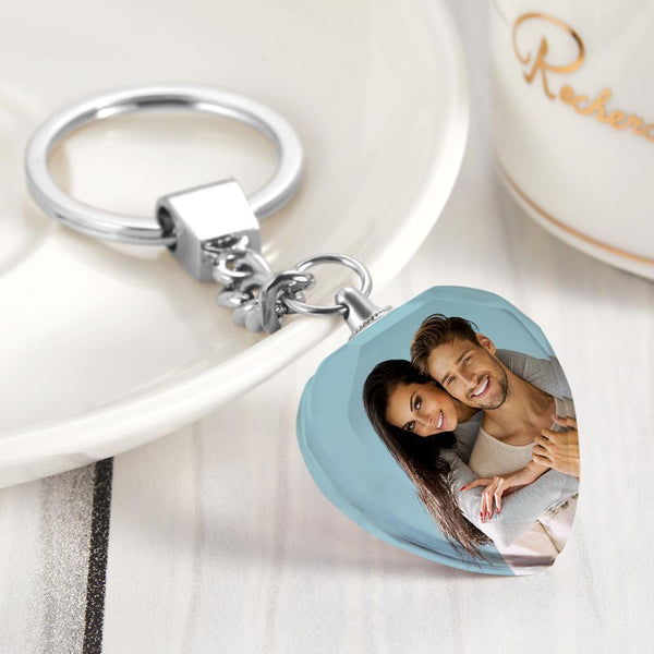 Christmas Gift - Custom Photo Crystal Keychain - Heart