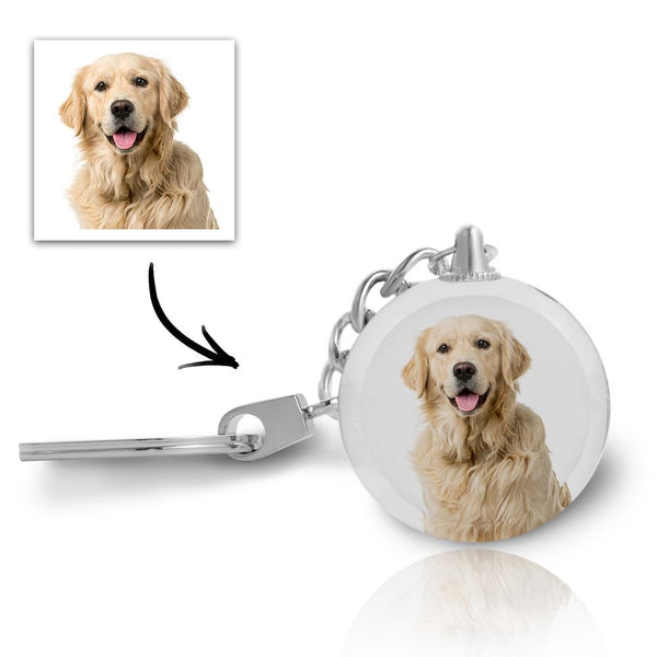 Christmas Gift - Custom Photo Crystal Keychain - Round