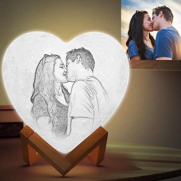 Custom 3D Printing Photo&Engraved Heart Lamp - FOR VALENTINE - Touch 3 Colors(10cm/15cm)