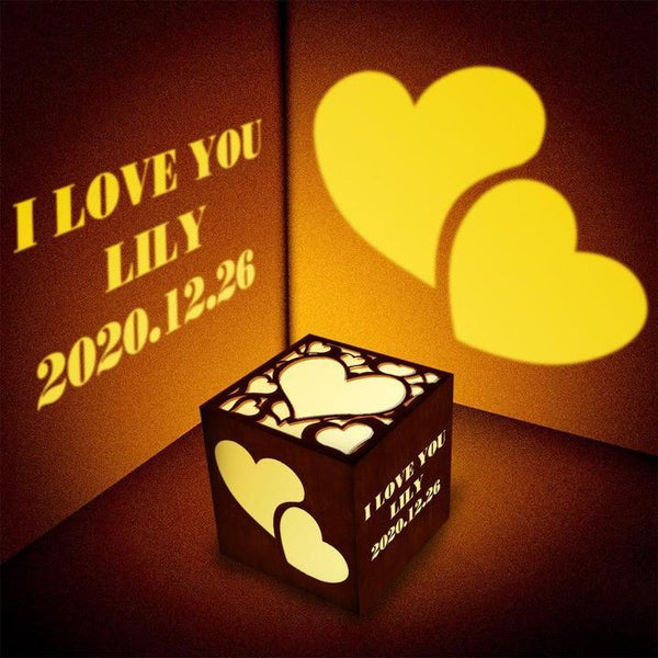 Valentine's Gift for Her Custom Projection Light Personalized Engraved Lantern Box