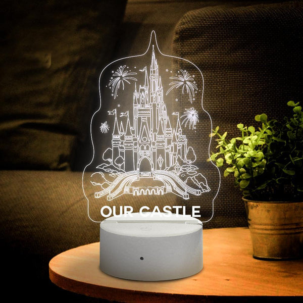 Personalised 3D Lamp Disney Castle With Custom Name Night Light Kid's Bedroom Decor Children's Light Kids Room