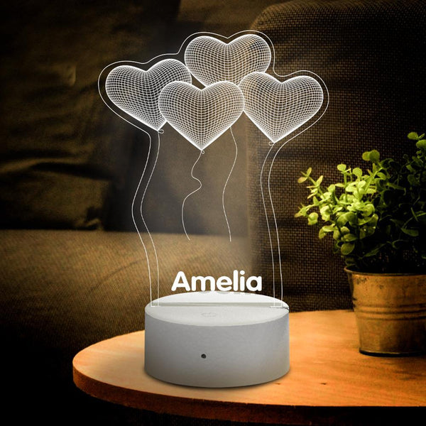 Personalised 3D Illusion Balloon of Love With Custom Name Night Light