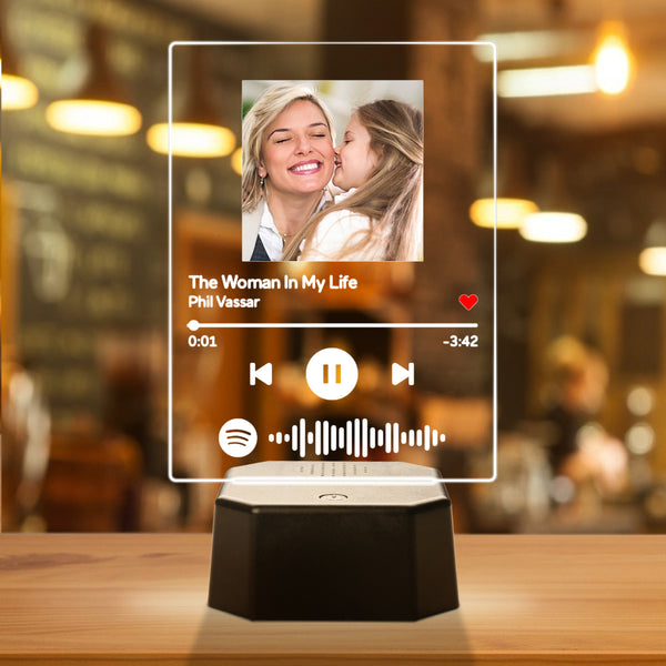 Personalised Photo Spotify Song Light Up Plaque & Stand Bluetooth Speaker Anniversary Gift