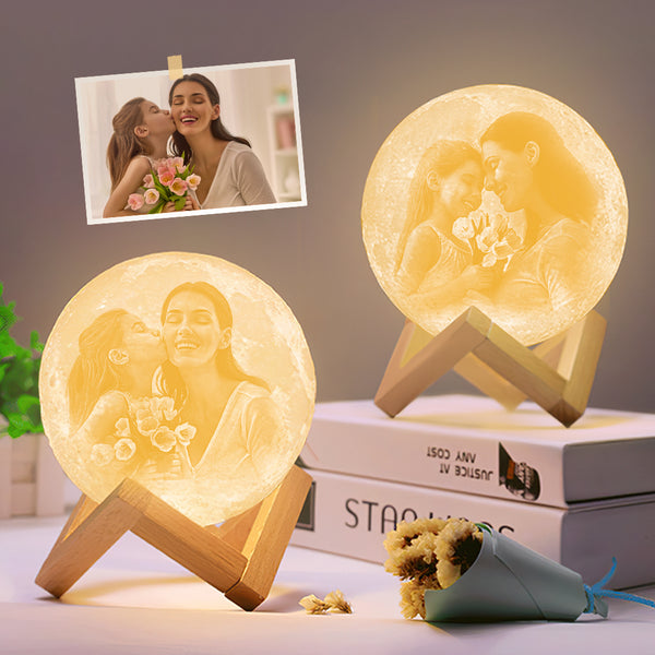 Custom 3D Printing Photo Moon Lamp Magic Lunar With Double-Sided Photo - Touch Two/Three Colors(10cm-20cm)
