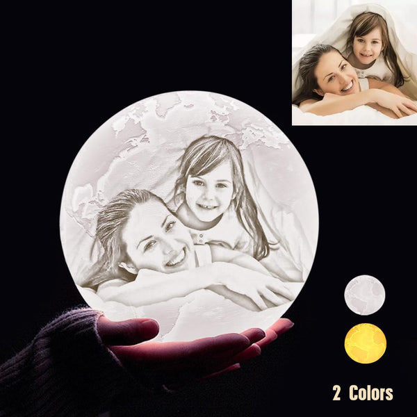 Custom 3D Printing Photo Earth Lamp With Your Text - For Family - Touch Two Colors(10cm-20cm)