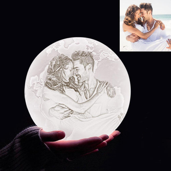 Custom 3D Printing Photo Earth Lamp With Your Text - For Valentine - Touch Two Colors(10cm-20cm)
