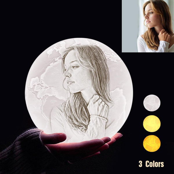 Custom 3D Printing Photo Earth Lamp With Your Text - For Lover - Tap 3 Colors(10cm-20cm)