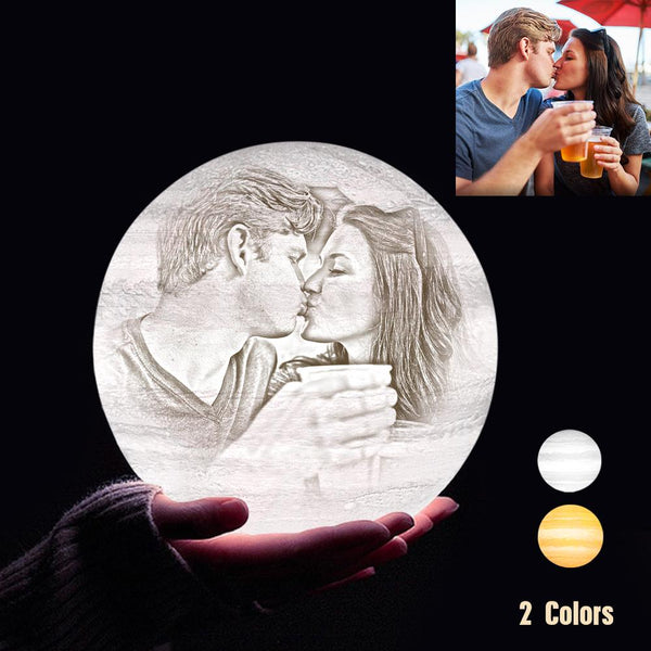 Custom 3D Printing Photo Jupiter Lamp With Your Text - For Valentine - Touch Two Colors(10cm-20cm)