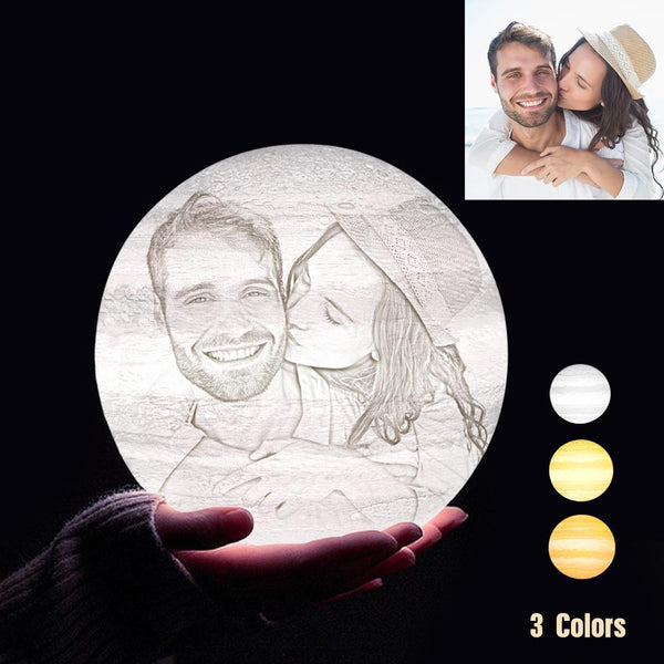 Custom 3D Printing Photo Jupiter Lamp With Your Text - For Valentine - Tap 3 Colors(10cm-20cm)