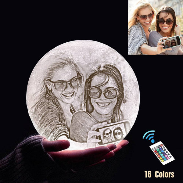 Custom 3D Printing Photo Moon Light With Your Text-For Friends-Remote Control 16 Colors(10-20cm)