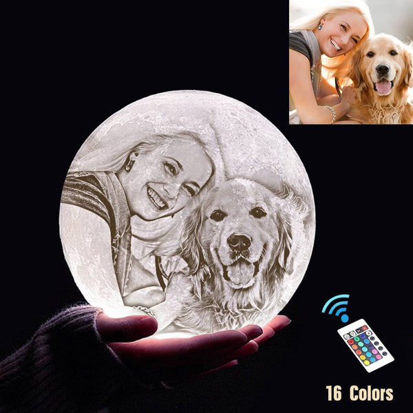 Custom 3D Printing Photo Moon Light With Your Text-For Pet Lover-Remote Control 16 Colors(10-20cm)