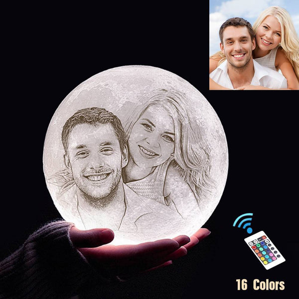 Custom 3D Printing Photo Moon Light With Your Text-For Valentine-Remote Control 16 Colors(10-20cm)