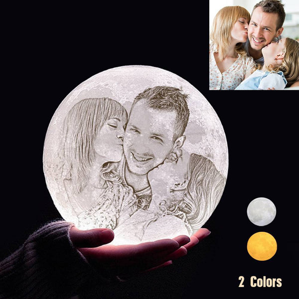 Custom 3D Printing Photo Moon Light With Your Text-For Family-Touch Two Colors(10-20cm)