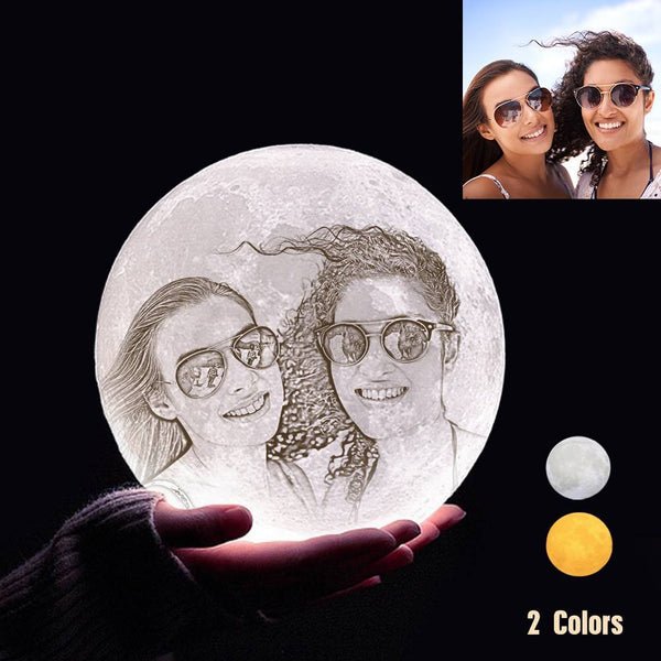 Custom 3D Printing Photo Moon Light With Your Text-For Friends-Touch Two Colors(10-20cm)