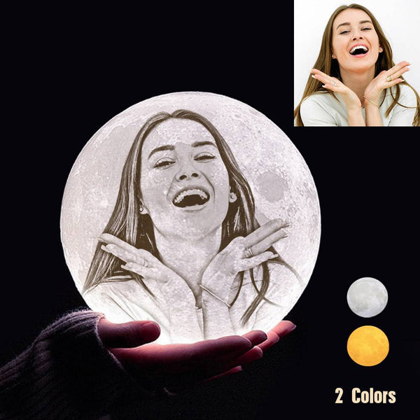 Custom 3D Printing Photo Moon Light With Your Text-For Lover-Touch Two Colors(10-20cm)