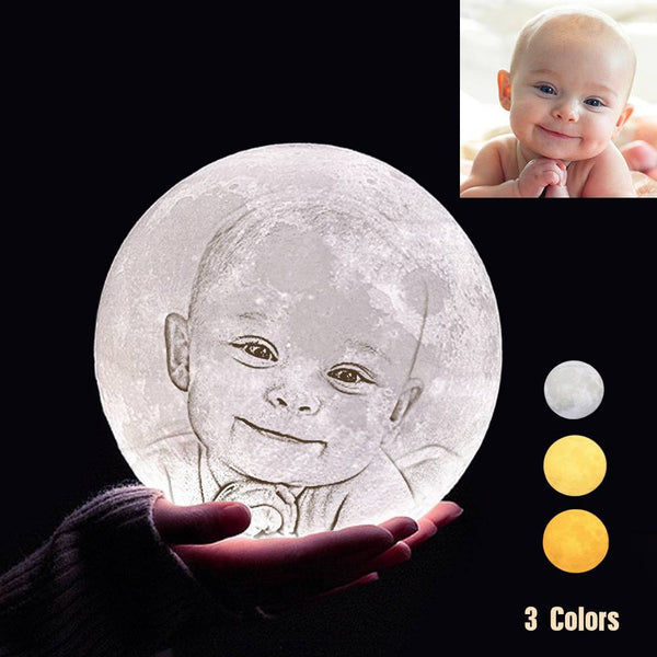Custom 3D Printing Photo Moon Light With Your Text-For Baby-Tap 3 Colors(10-20cm)