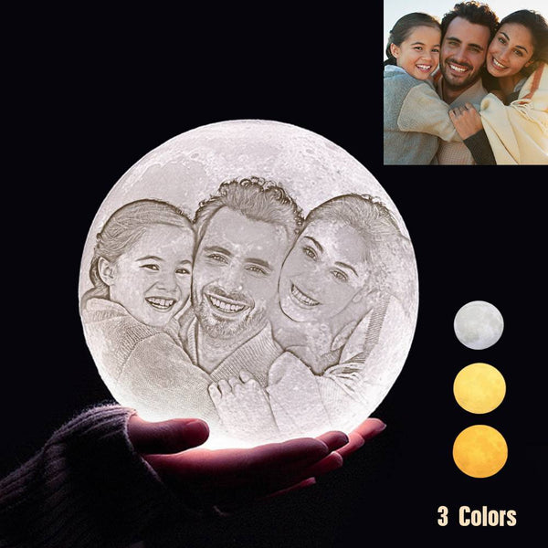 Custom 3D Printing Photo Moon Light With Your Text-For Family-Tap 3 Colors(10-20cm)