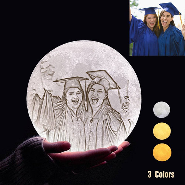 Custom 3D Printing Photo Moon Light With Your Text-For Friends-Tap 3 Colors(10-20cm)