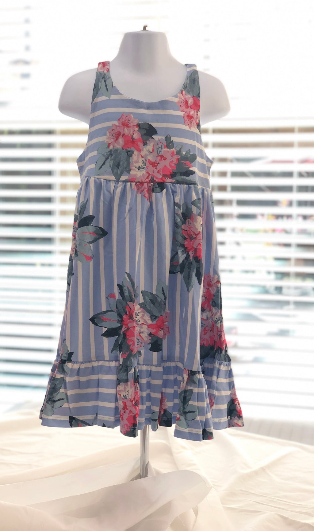 Blue Stripe Floral Dress