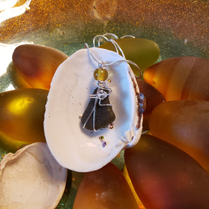 """Star Fish Perch"" Genuine Frosted Sea Glass pendant"