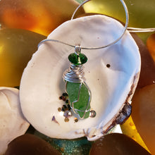 "Load image into Gallery viewer, ""A Twist of Green"" Genuine Frosted Sea Glass pendant"