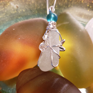 """Star Fish & Crystals"" Genuine Frosted Sea Glass pendant"