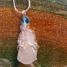 "Load image into Gallery viewer, ""Star Fish & Crystals"" Genuine Frosted Sea Glass pendant"