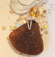 Load image into Gallery viewer, sea glass necklace with amber coloured bead