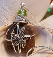 Load image into Gallery viewer, Star Fish Genuine Frosted Sea Glass pendant