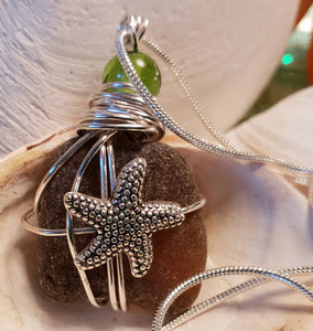 Star Fish Genuine Frosted Sea Glass pendant
