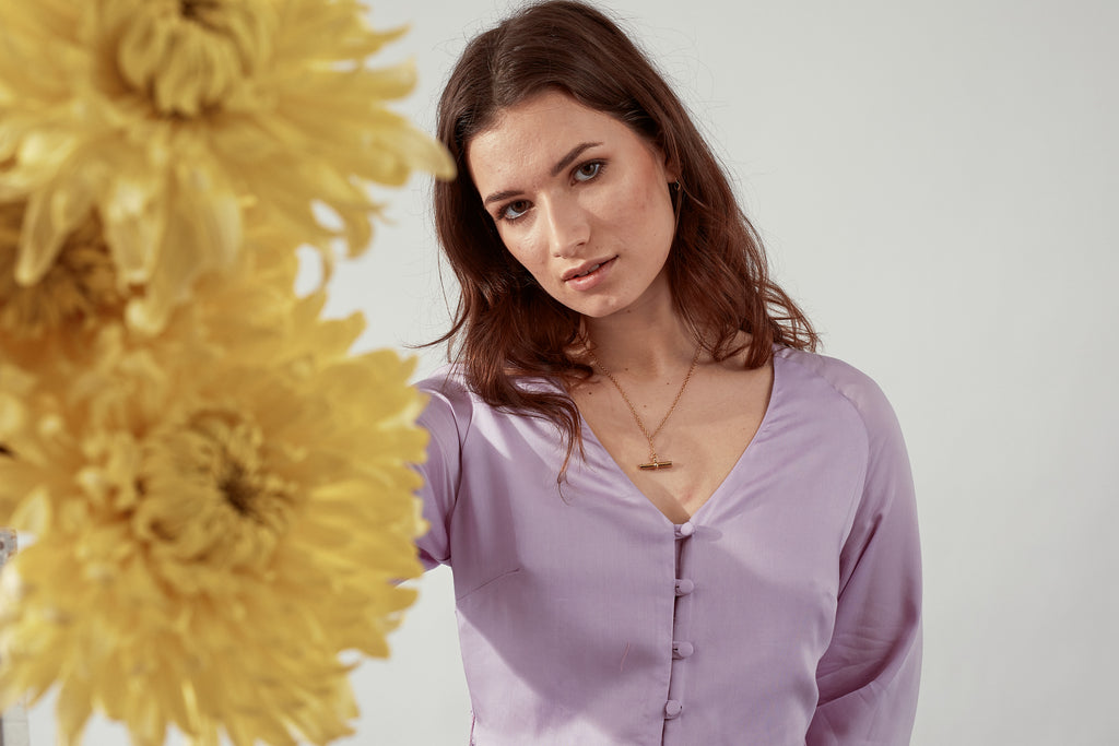Rene Lilac Dress with Yellow Flowers