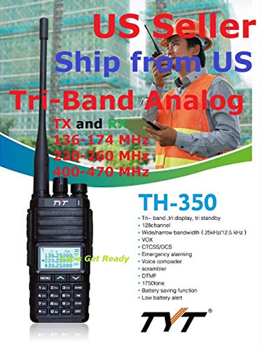 TYT TH-350 Tri-Band Radio 136-174 MHz (VHF), 220-260 MHz (1.25M), 400-470MHz (UHF) Analog Amateur Radio