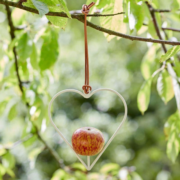 Apple Bird Feeder Heart