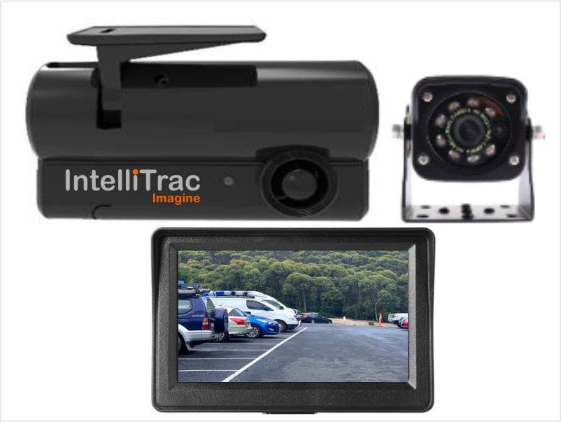 IntelliTrac Dash Cam 2 Channel Exterior Rear Camera - IR LED with Reverse Screen