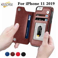 Load image into Gallery viewer, KISSCASE Retro PU Leather Case For iPhone 11 8 7 X 6 6s Plus XS Max XR Card Slot Holder Cover For Samsung S8 S9 Plus Note 8 9 10