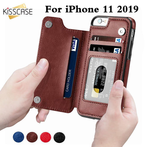 KISSCASE Retro PU Leather Case For iPhone 11 8 7 X 6 6s Plus XS Max XR Card Slot Holder Cover For Samsung S8 S9 Plus Note 8 9 10
