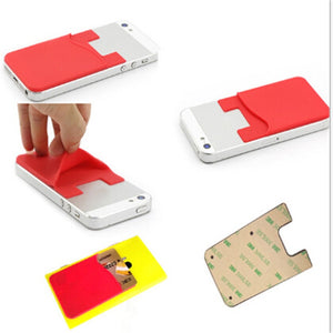 1PC Fashion Adhesive Sticker Back Cover Card Holder Silicone Small Bus Card Case Pouch For Phone Credit Card Cash Pouch