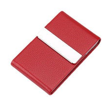 Load image into Gallery viewer, Portable Men Metal Leather Card Case Holder for Business ID Card Storage