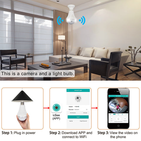 wifi fisheye light bulb camera