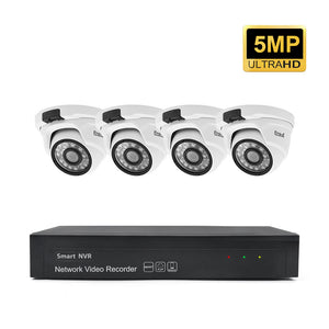JideTech 4pcs Wired 5MP Outdoor POE IP Cameras NVR Security System(JD4NK102P-5MP)