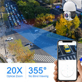 (P2plus-20X-5MPW)5mp Auto Tracking Wifi IP Camera Outdoor Wireless PTZ Security Camera For home