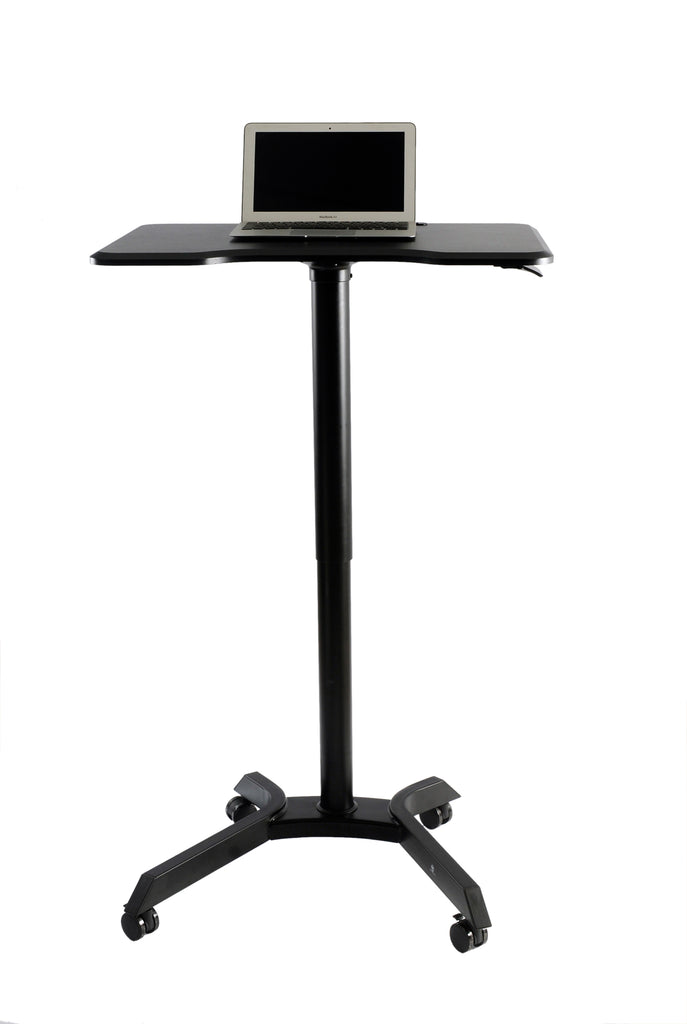 Mobile Standing Desk Computer Cart Laptop Trolley stand media podium and presentation cart height adjustable for sitting or standing