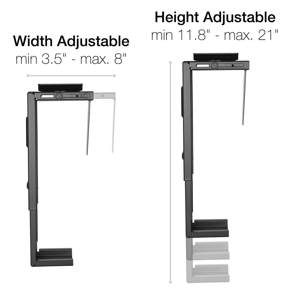 Adjustable Under Desk PC Stand And Computer Wall Mount - Computer Tower Case Holder with 360-degree Swivel
