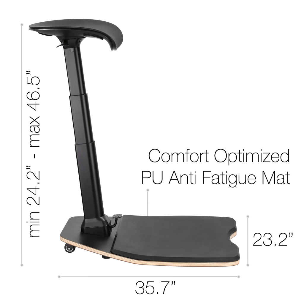 Standing Desk Posture Chair - Ergonomic Leaning Chair With Anti-Fatigue Mat - Height Adjustable Office Stool