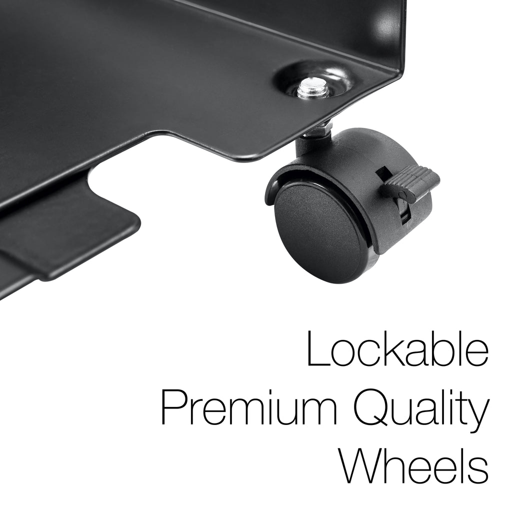 Computer Tower Stand - Mobile PC Stand - Adjustable Desktop CPU Holder Cart With Lockable Caster Wheels