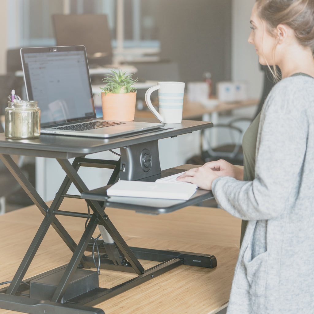 Electric Standing Desk Converter Workstation - Motorized Stand Up Desk Riser for a Sit Stand Desk